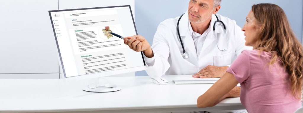 Chiropractor using technology to help diagnose a patient